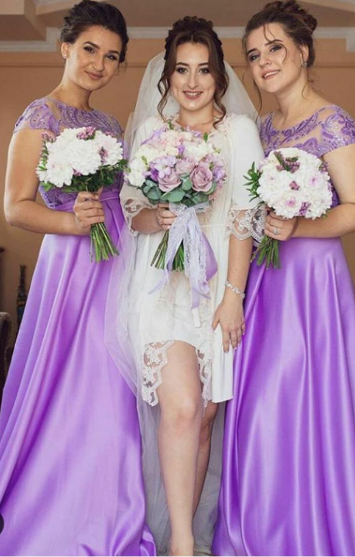 Сукні для дружок бузкового кольору з мереживом